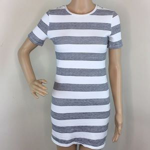Zara Black and White Stripe Shirt Dress